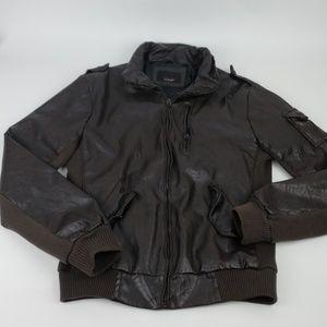Zara Man Motorcycle Jacket Size L Brown Zip Up